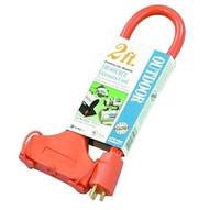 Coleman Cable 04112 2' 12/3 Stw-a 3-way Power Block Orange Cont-1
