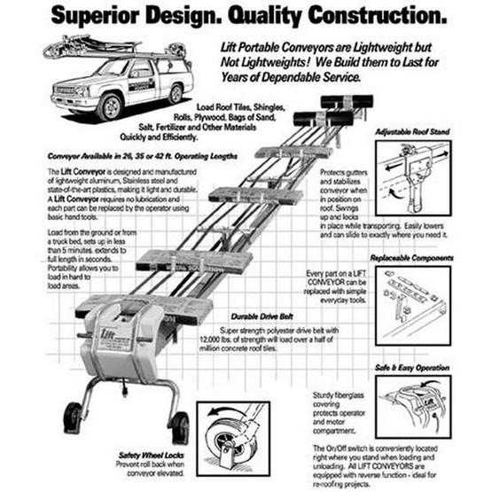 Lift Conveyors 35 Foot Portable Belt Lift Conveyor-2