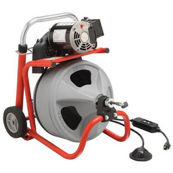Ridgid 27008 K-400 Machine W/gloves & Std. Equipment Two-wheel Cart Autofeed C-32 Iw 3/8 X 75' Solid Core-1