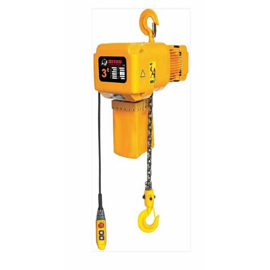 Bison Lifting HHBD03SK-01 3 Ton 3 Phase 20' Single Speed Electric Chain Hoist-1