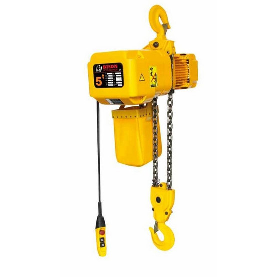 Bison Lifting HHBD05SK-02 5 Ton 3 Phase 20' Single Speed Electric Chain Hoist-1