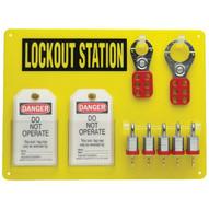Brady 51186 5-lock Board (filled W 3 4 Steel Padlocks) - Black On Yellow-1