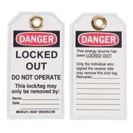 Brady 65527 Lockout Tags - 5 1 2h X 3w - Black red On White (25 per PK)-1