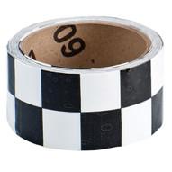 Brady 76316 Warning Stripe & Check Tape - 2 W X 18 Yds. - Black And White-1