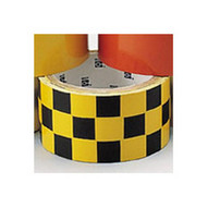 Brady 76318 Warning Stripe & Check Tape - 3 W X 18 Yds. - Black And White-1