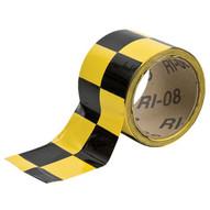 Brady 76319 Warning Stripe & Check Tape - 3 W X 18 Yds. - Black And Yellow-1