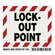 Brady 86204 Lockout Point Labels - 3 1 2 H X 5 W - Black red On White (5 per PK)-1