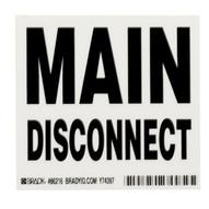 Brady 86216 Main Disconnect Labels - 3 1 2 H X 5 W - Black On White (5 per PK)-1