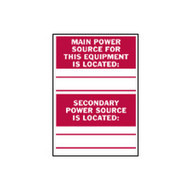 Brady 86240 Main Secondary Power Source Labels - 5 H X 3 1 2 W - Red On White (5 per PK)-1