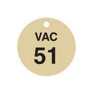 Brady 87502 Stamped Brass Valve Tags - 1 1 2 Diameter - Brass (25 per PK)-1