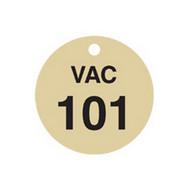 Brady 87504 Stamped Brass Valve Tags - 1 1 2 Diameter - Brass (25 per PK)-1