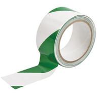 Brady 90019 Warning Stripe & Check Tape - 2 W X 18 Yds. - Green And White-1