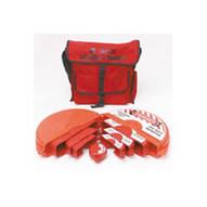 Brady 99678 Gate Valve Lockout Satchel Kit With Steel Padlocks & Tags - Black On Red-1