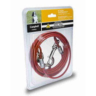 Campbell 5970820 20' Small To Medium Pet Tie-out Cable Red Vinyl Coated Wswivel Snaps On Each End (3 In A Box)-1