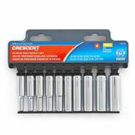 Crescent CSAS10 10 Pc. 14 Drive 6 Point Sae Deep Socket Set-1