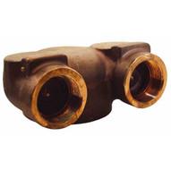 Dixon Valve 90CDMHCB60225 90 Degrees 6 Npt X (2) 2.5 Npt Concealed Hydrant Body - Brass-1
