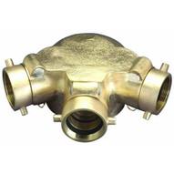 Dixon Valve 90TCS6025F 90 Dgr 6 Fnpt X (3) 2-12 Fnh Triple Clapper Siamese Cast Brass-1