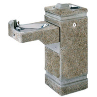 Haws 3150fr Freeze Resistant Hi-lo Barrier Free Concrete Pedestal Drinking Fountain Aggregate Finish-1