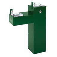Haws 3300fr Freeze Resistant Hi-lo Two Bubbler Galvanized Steel Pedestal Drinking Fountain Green Powder Coated-1