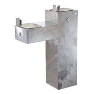 Haws 3300g Hi-lo Two Bubbler Galvanized Steel Pedestal Drinking Fountain Natural Steel Finish-1
