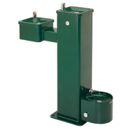 Haws 3500d Hi-lo Barrier Free Stainless Steel Pedestal Drinking Fountain Green Powder Coated Finish-1