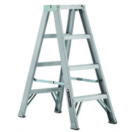 Louisville Ladder AM1004 4 Ft Aluminum Twin Front Step Ladders Cap: 300 Lbs Type Ia-1