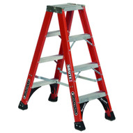 Louisville Ladder FM1404HD 4 Ft Fiberglass Twin Front Ladder Cap: 375 Lbs Type Iaa-1