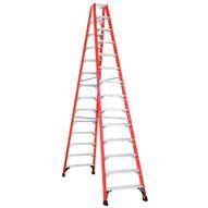 Louisville Ladder FM1414HD 14 Ft Fiberglass Twin Front Ladder Cap: 375 Lbs Type Iaa-1