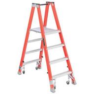 Louisville Ladder FMP1504-4C 4 Ft Fiberglass Twin Front Platform Ladder W Casters Cap: 300 Lbs Type Ia-1