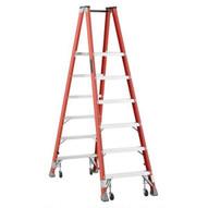 Louisville Ladder FMP1506-4C 6 Ft Fiberglass Twin Front Platform Ladder W Casters Cap: 300 Lbs Type Ia-1