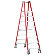 Louisville Ladder FMP1508-4C 8 Ft Fiberglass Twin Front Platform Ladder W Casters Cap: 300 Lbs Type Ia-1