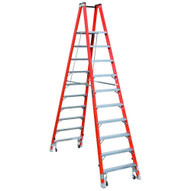 Louisville Ladder FMP1510-4C 10 Ft Fiberglass Twin Front Platform Ladder W Casters Cap: 300 Lbs Type Ia-1