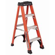 Louisville Ladder FS1404HD 4 Ft Fiberglass Standard Ladder Cap: 375 Lbs Type Iaa-1