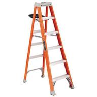 Louisville Ladder FS1504-S51 4 Ft Fiberglass Standard Ladder Cap: 300 Lbs Type Ia W Pail Shelf-1