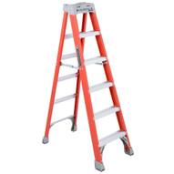 Louisville Ladder FS1506 6 Ft Fiberglass Standard Ladder Cap: 300 Lbs Type Ia-1