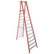 Louisville Ladder FXP1712 12 Ft Fiberglass Pro Extended Rail Protop Platform Ladder Cap: 300 Lbs Type Ia-1