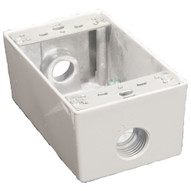 Morris Products 36002 Weatherproof Boxes - One Gang 18 Cubic Inch Capacity - 3 Outlet Holes 1 2 White No Lugs-1