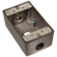 Morris Products 36004 Weatherproof Boxes - One Gang 18 Cubic Inch Capacity - 3 Outlet Holes 1 2 Bronze No Lugs-1