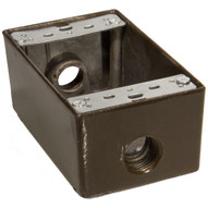Morris Products 36014 Weatherproof Boxes - One Gang 18 Cubic Inch Capacity - 3 Outlet Holes 1 2 Bronze-1