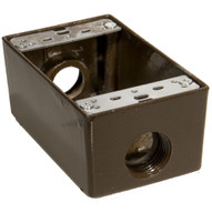 Morris Products 36024 Weatherproof Boxes - One Gang 18 Cubic Inch Capacity - 3 Outlet Holes 3 4 Bronze-1