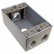 Morris Products 36028 Weatherproof Boxes - One Gang 18 Cubic Inch Capacity - 4 Outlet Holes 1 2 Gray No Lugs-1