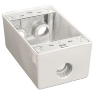 Morris Products 36032 Weatherproof Boxes - One Gang 18 Cubic Inch Capacity - 4 Outlet Holes 1 2 White-1