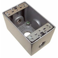 Morris Products 36090 Weatherproof Boxes - One Gang Deep 24 Cubic Inch Capacity - 3 Outlet Holes 1 2 Gray-1