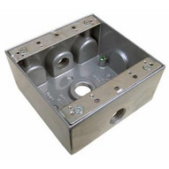 Morris Products 36210 Weatherproof Boxes - Two Gang 30.5 Cubic Inch Capacity - 3 Outlet Holes 1 2 Gray-1