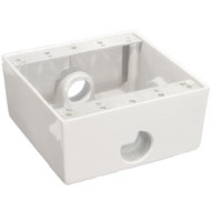 Morris Products 36212 Weatherproof Boxes - Two Gang 30.5 Cubic Inch Capacity - 3 Outlet Holes 1 2 White-1