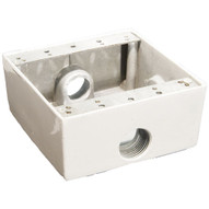 Morris Products 36222 Weatherproof Boxes - Two Gang 30.5 Cubic Inch Capacity - 3 Outlet Holes 3 4 White-1