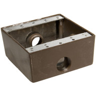 Morris Products 36224 Weatherproof Boxes - Two Gang 30.5 Cubic Inch Capacity - 3 Outlet Holes 3 4 Bronze-1