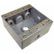 Morris Products 36230 Weatherproof Boxes - Two Gang 30.5 Cubic Inch Capacity - 4 Outlet Holes 1 2 Gray-1