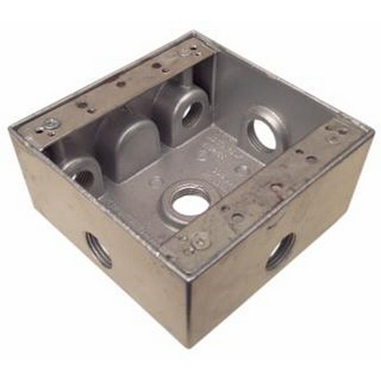 Morris Products 36290 Weatherproof Boxes - Two Gang 30.5 Cubic Inch Capacity - 6 Outlet Holes 1 2 Gray-1