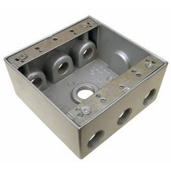 Morris Products 36320 Weatherproof Boxes - Two Gang 30.5 Cubic Inch Capacity - 7 Outlet Holes 3 4 Gray-1